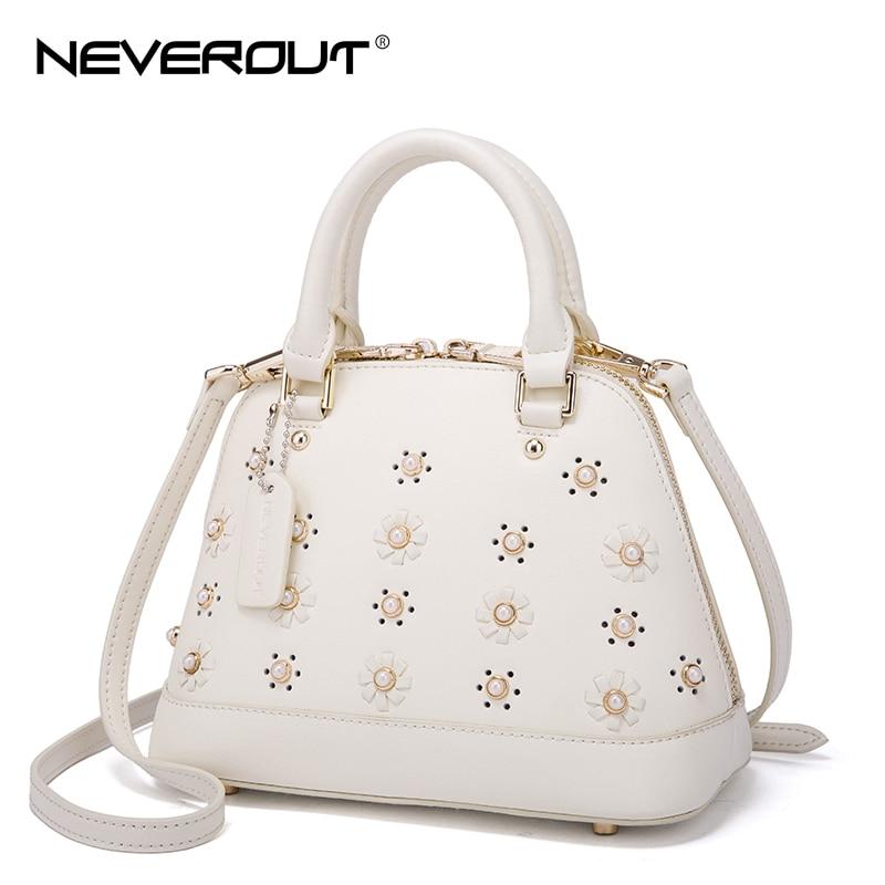 NeverOut Shoulder Bags Sac Handbags Tote Brand Little Daisy Rivet Style Women Bag Floral Shell Split Leather Handbag for Girls neverout brand name shoulder bag sac