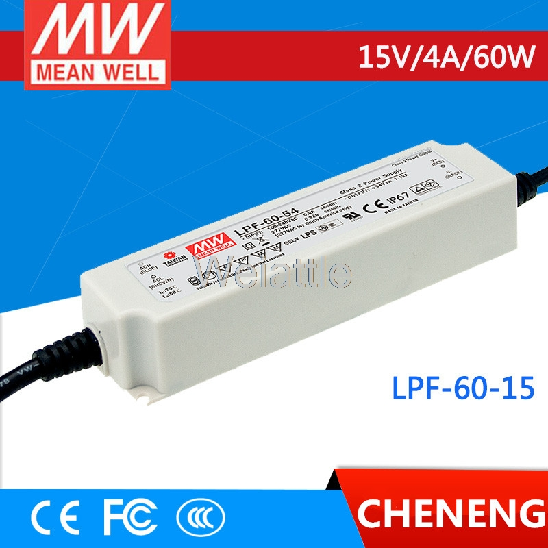 MEAN WELL original LPF-60-15 15V 4A meanwell LPF-60 15V 60W Single Output LED Switching Power Supply vico dritto portofino свитер