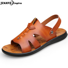Men Genuine Leather Sandals Summer Classic Shoes Slippers Soft Roman Comfortable Walking Footwear