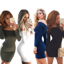 Womens dresses Fall/Winter fashion word collar off-the-shoulder dress Long-sleeved warm