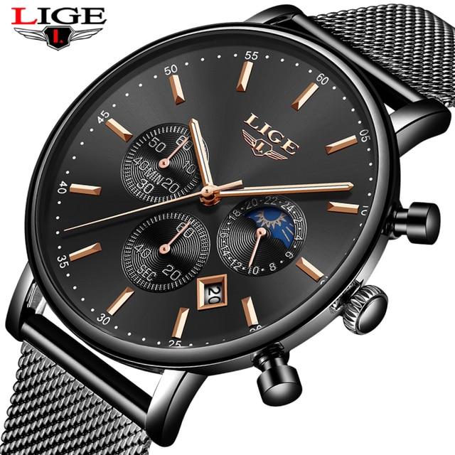 LIGE Novo Top Marca de Moda de Luxo de Ouro de Malha Banda Criativa Relógio de Pulso Casual Mulheres Relógio de Quartzo Relógio de Presente Relógio De Ouro Dos Homens relogio