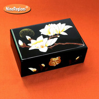 PingYao Shanxi China hand push light lacquer Chinese lacquerware jewelry box storage case Traditional wood crafts wedding decor