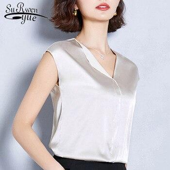9fdec1981 2019 летний больших размеров женская мода без рукавов топы Офисная Женская  рубашка v-образный вырез