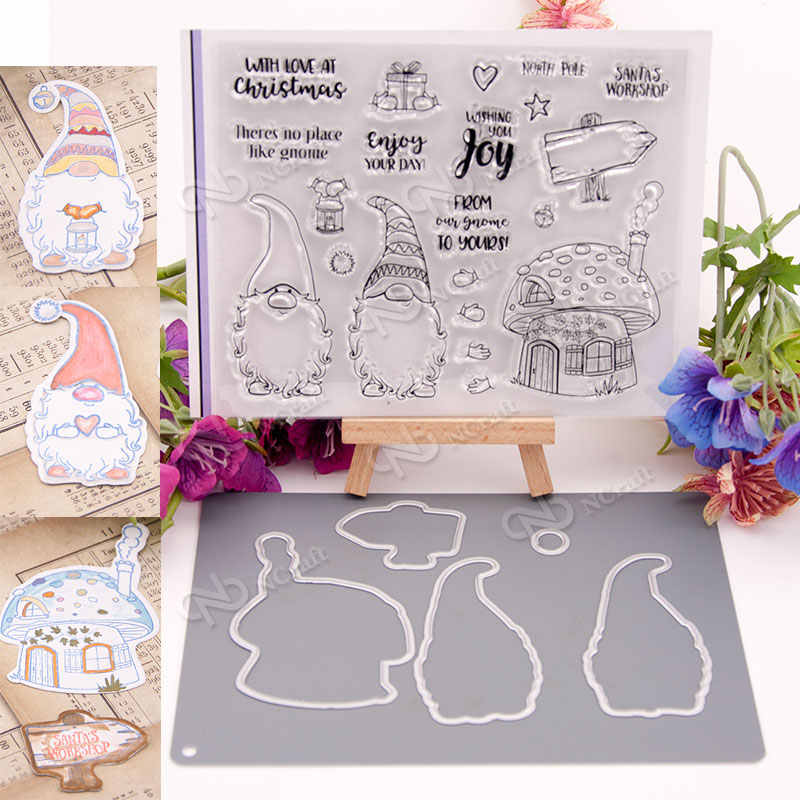 Christmas Santa Clause Transparent Clear Silicone Stamp and Cutting Dies DIY Scrapbooking Photo Album Decorative Card Making
