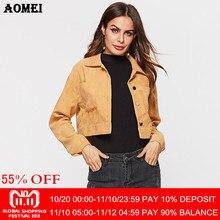 c146185ba4d Women Autumn Jackets Yellow Coats Girls Loose Casual Long Sleeve Korean Fashion  Fall Outwear with Buttons Short Outcoat Cardigan