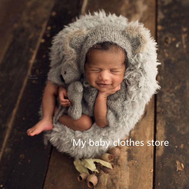Props hat hand-woven newborn baby photography props set hat plus dolls newborn photograp props