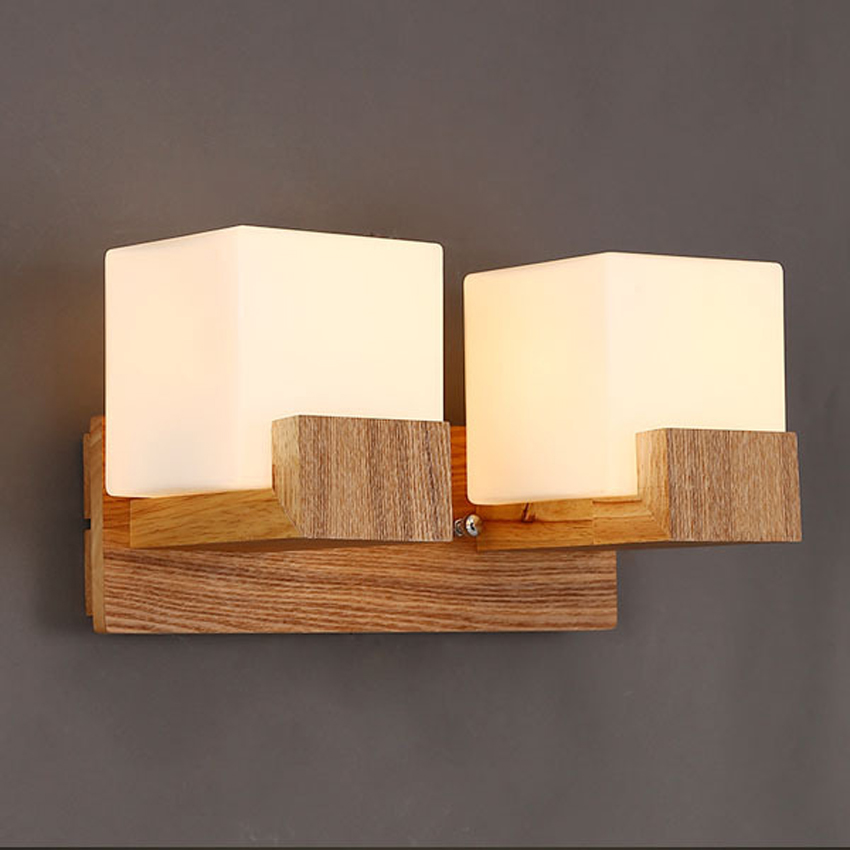 Modern Oak Wood Base Glass Lamp Shade Wall Lamps Bedroom Bedside Reading Bathroom Led Mirror