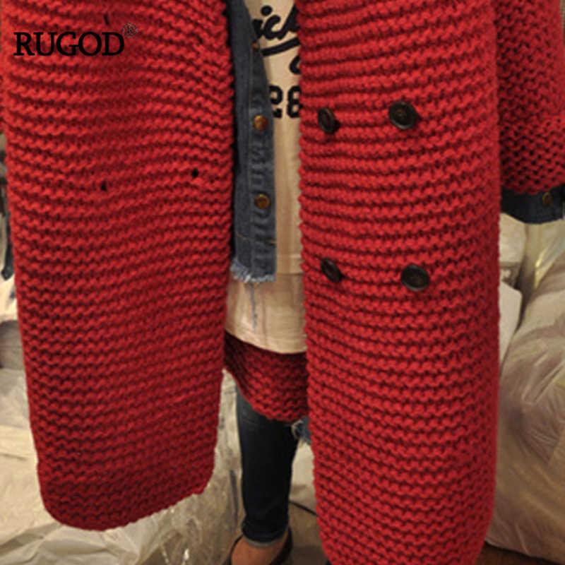 RUGOD 2018 осенне-зимние корейские женские модные и элегантные кардиганы свитер универсальные повседневные пуговицы твист длинный трикотажный свитер