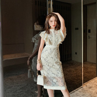Ruffles Short Sleeve Stand Collar Backless Dress Summer Vintage Lace Pencil Dress Women Office Sexy Party Ladies Dresses Vestido