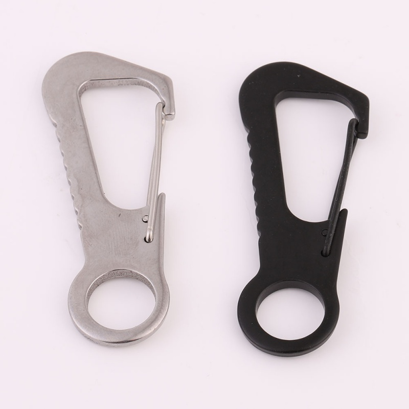 EDC Hanging Buckled Ring Bottle Opener Keychain Clip Hook Outdoor Stainless Steel Portable Camping Hiking Climbing Multi Tools