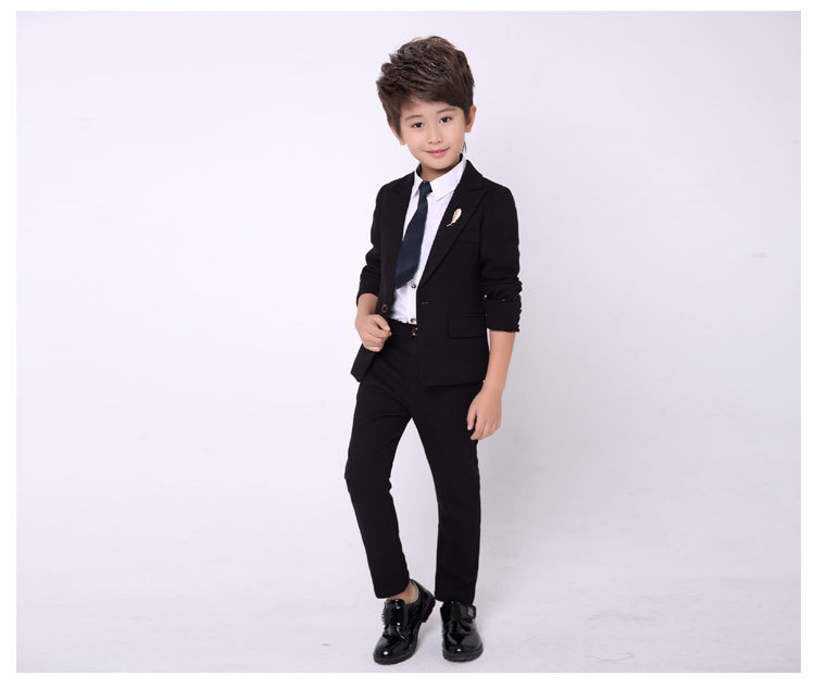 Boys Suits Sets Clothing Black Blazer+ Pant 2pcs Wedding Party Clothes Spring Toddler Boy Costume 2T-8T SY-EY