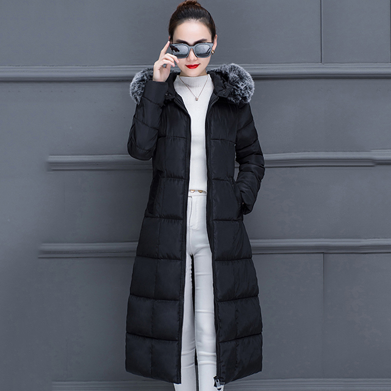 2019 Casual Women Winter   Down   Jacket With Fur X-long Warm Thicken Female   Coat   Ladies Slim Outwear Parka Mujer Invierno