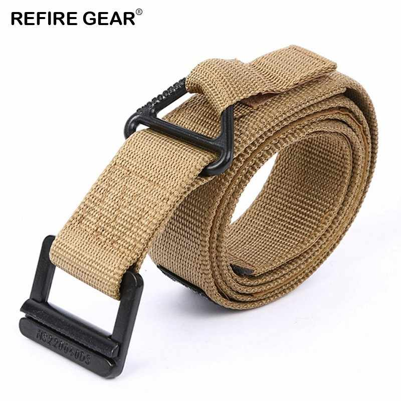 Refire Gear alta calidad al aire libre cinturones tácticos de nailon ajustable hombres hebilla de Metal Knock Off cinturón de cintura del ejército Correa Casual cinturón