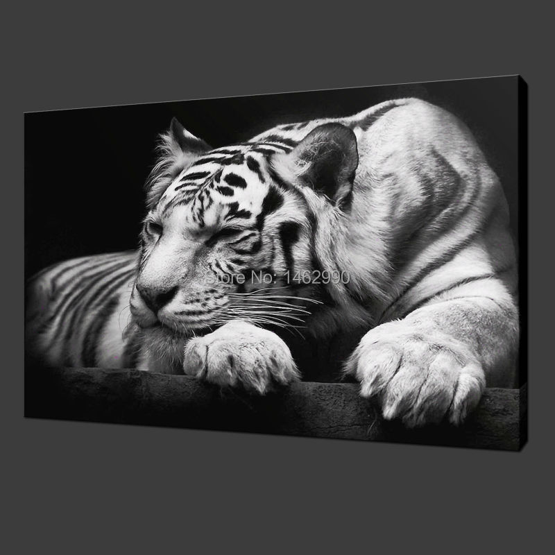 pas encadr e toile peinture moderne wall art animaux noir et blanc tigre d coration de la maison. Black Bedroom Furniture Sets. Home Design Ideas