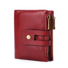 Genuine Leather lady small purse short fashion women wallet double zipper coin pocket large capacity female cards holder Carteir 3157 fashion women wallet leather small crossbody bags girls purse multiple cards holder phone pocket female standard wallets