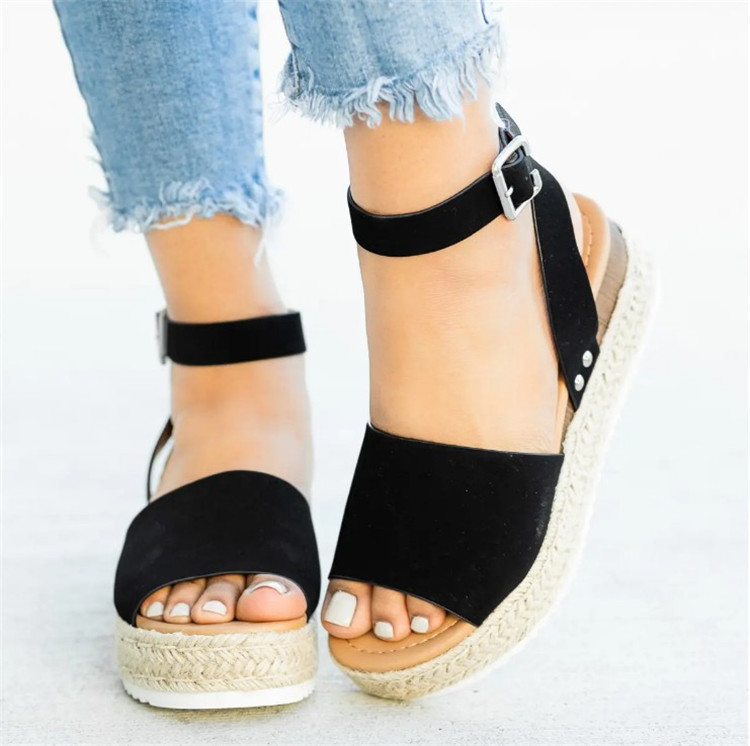 HTB18AR3N3HqK1RjSZFEq6AGMXXaT 2019 Summer Womens Casual Espadrilles Trim Rubber Sole Flatform Studded Wedge Buckle Ankle Strap Open Toe Sandals