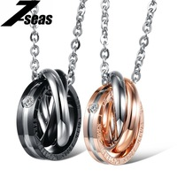 Romantic Couple 3 Rings Interwined Pendant Personalized 316L Stainless Steel Necklace 863