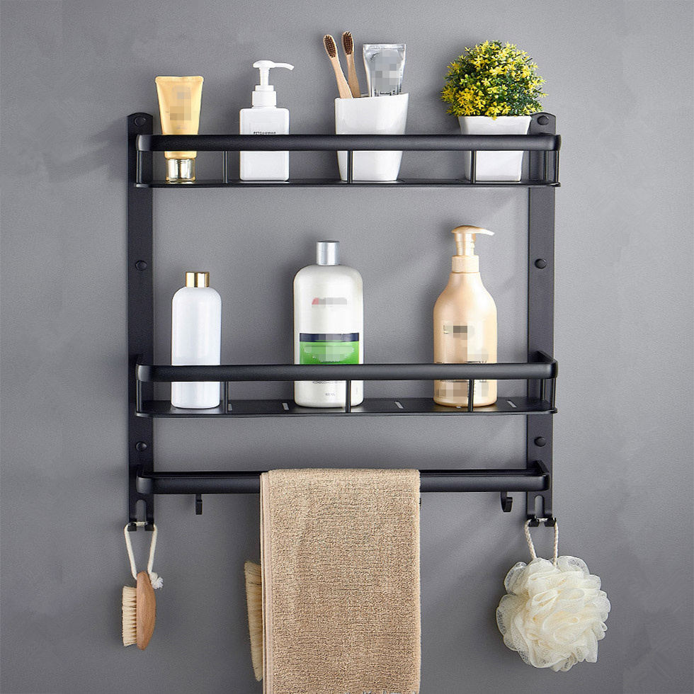 Bathroom Black Shelf Aluminum Shower Caddy Corner Shelves Bath Towel Rack With Bar Hook Hair Dryer Holder Etagere Salle De Bain