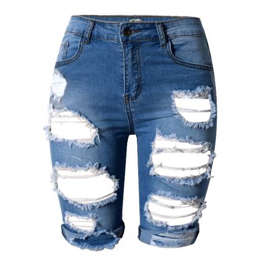Knee Length Ripped Denim Shorts - The Else