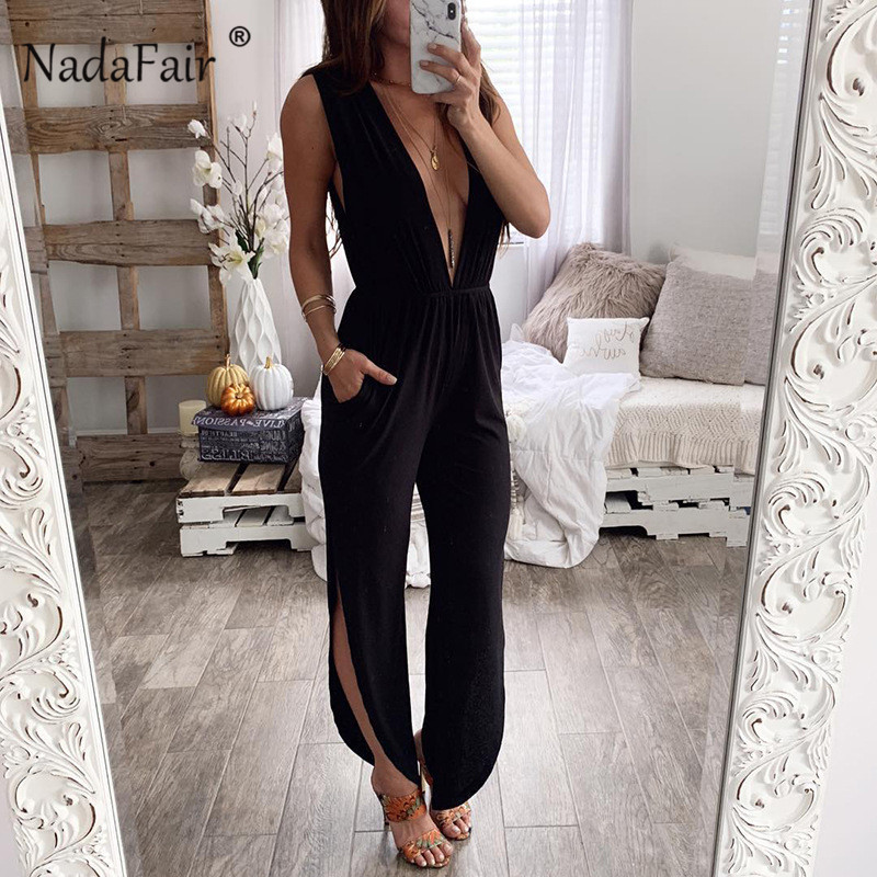 Nadafair deep v neck backless sexy   jumpsuits   women halter lace up cut split office long pants   jumpsuit   womens rompers overalls
