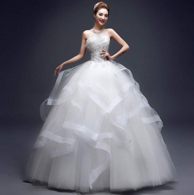 Aliexpress.com : Buy Modern Elegant Bride Strapless Appliques with ...