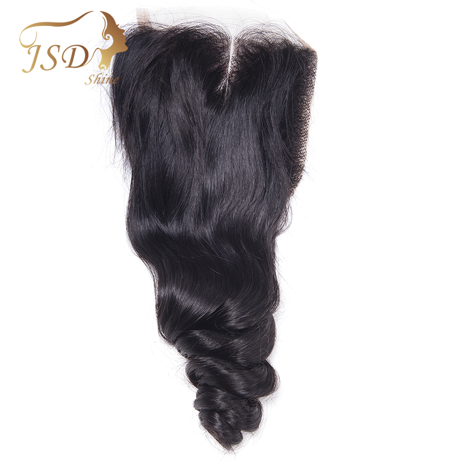Brazilian Loose Wave Closure 4*4 Swiss Lace Closure Remy 100% Human Hair JSDshine Lace Closure Natural Color Free Shipping