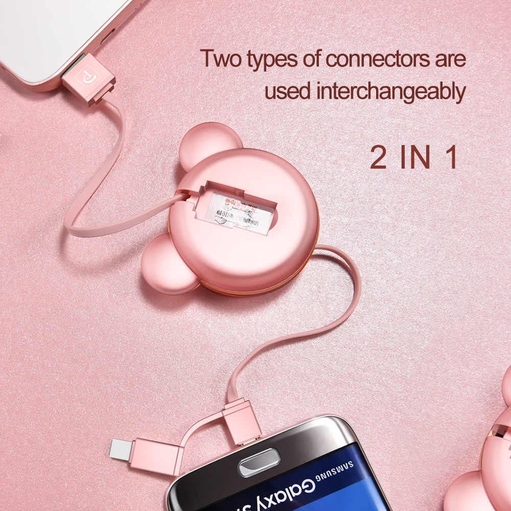 OATSBASF 2in1 Cabo USB Retrátil para Samsung Xiaomi e Tipo C Porto + Android Micro USB Porto de Carregamento e de Dados transferência