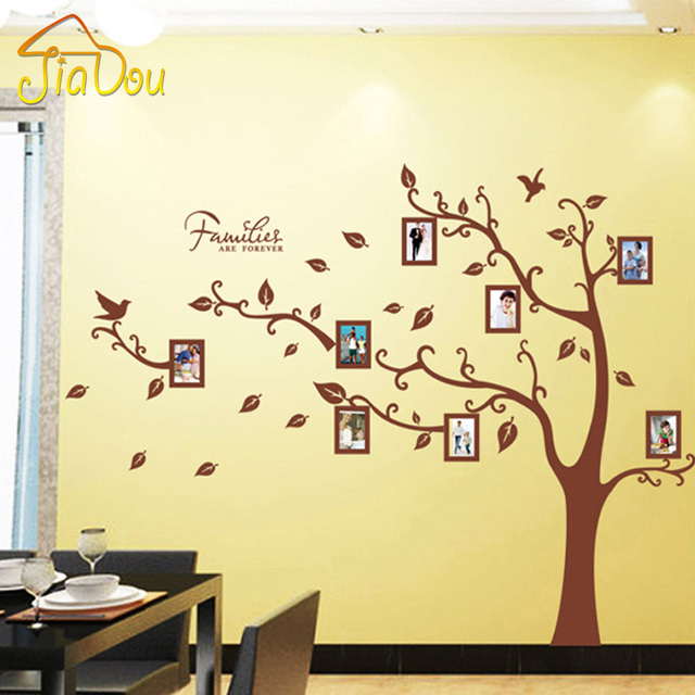 Large Brown 3D DIY Photo Tree PVC Wall Decals/Adhesive Family Wall ...