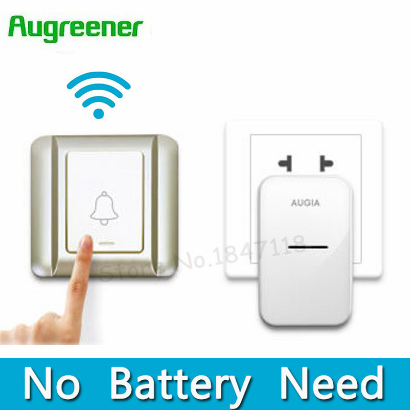 где купить Kinetic Electronic Waterproof Wireless Doorbell No Battery Need Led Light Smart Home Digital Door Bell 220V With 38 Ring Button по лучшей цене