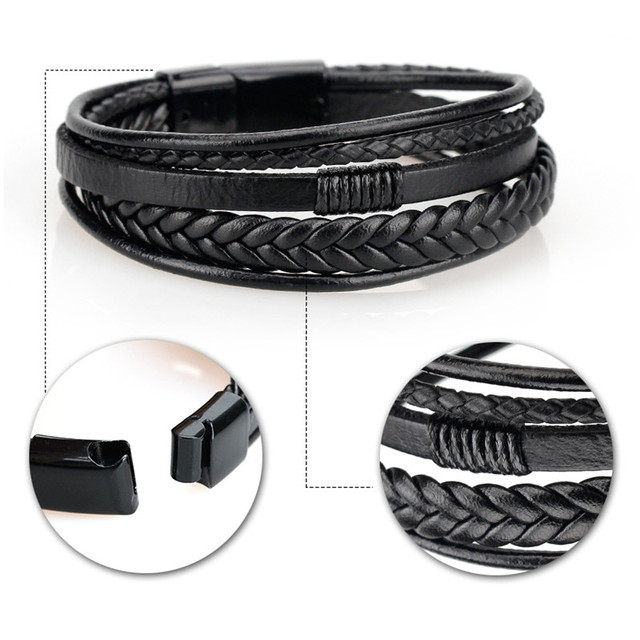 Leather bangles Magnetic-Clasp Cowhide Braided Multi-Layer Wrap Bracelet