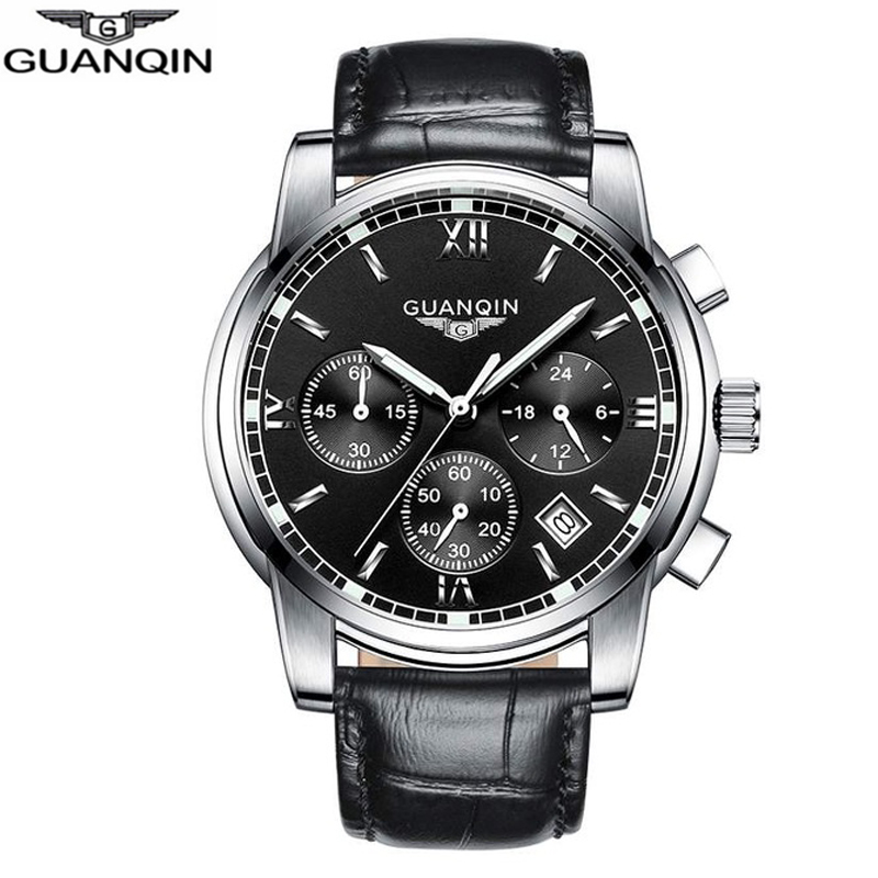 NEW GUANQIN Watch Men Quartz Watch Relogio Masculino Business Top Brand Chronograph Luminous Date Clock Men's Casual Wristwatch new 2017 classic men quartz watch luminous leather band wristwatch fashion casual dress business sport clock relogio masculino
