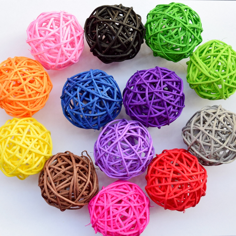 20pcs 5 Cm Multicolor Christmas Tree Decorative Rattan Ball,wedding And Home Ornament Craft Ball Free Shipping 1405 Strong Resistance To Heat And Hard Wearing Christmas