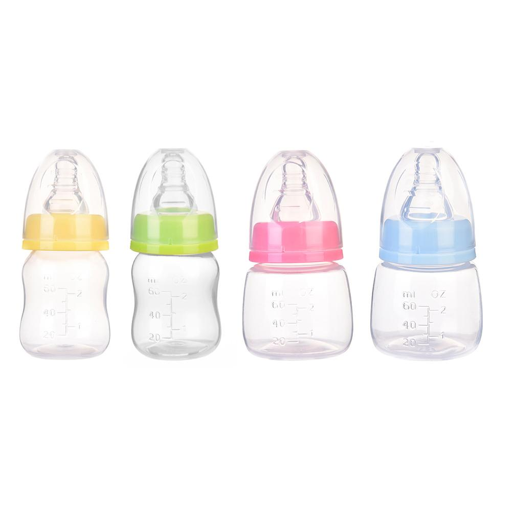 60ml Baby Feeding Bottle Newborn Infant Nursing Milk Fruit Juice Water Bottles Standard Mouth Silicone Nipple Pacifier Bottle