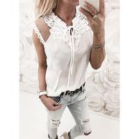 Повседневная Женская рубашка, блузки, Сетчатое кружевное в стиле пэчворк, женские топы, v-образный вырез, однотонные винтажные рубашки, женс...