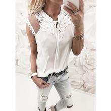 Casual Women Shirt Blouses Mesh Lace Patchwork ladies tops V Neck Solid Vintage Shirts Women 2018 Summer Blouse Blusas WS8715M