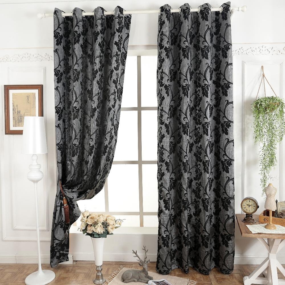 Compra cortinas de color gris oscuro online al por mayor for Telas para cortinas salon