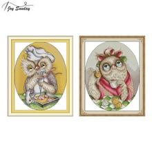Joy Sunday Cute Owl Counted Cross Stitch Patterns Aida Fabric DMC DIY Stitching Printed Canvas Embroidery Needlework Sets