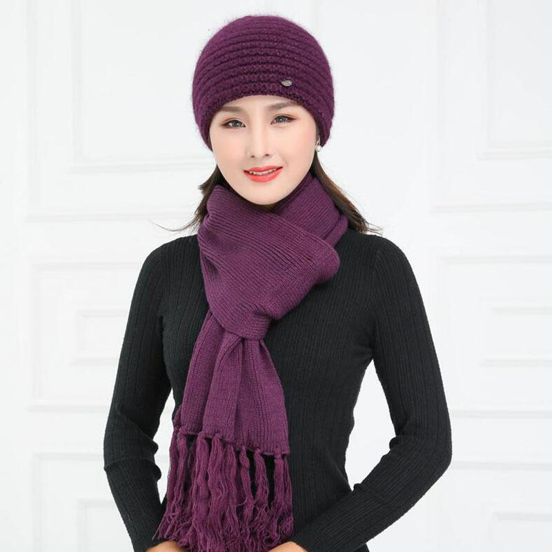 Rabbit Wool Knitted Yarn Hat The Elderly Hat Female Winter Hat Autumn & Winter Female Winter Warm Beret Thermal Fur Cap