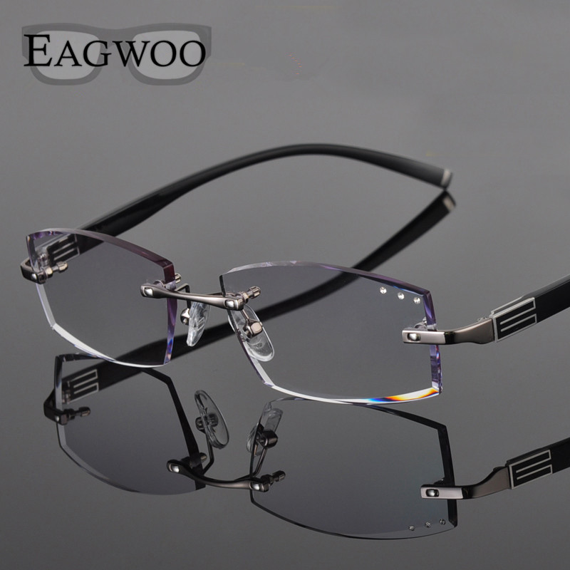 Metal Alloy Eyeglasses Men Rimless Prescription Reading Myopia Color MR 8 Diamond Glasses Frameless Spectacle Color