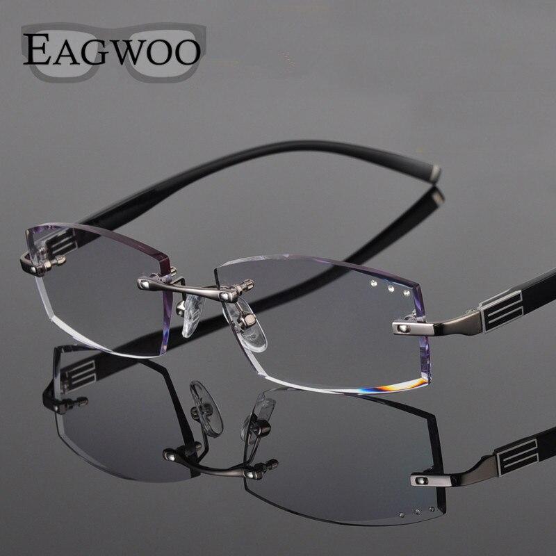 Lega del metallo Occhiali Da Vista Da Uomo Senza Montatura Occhiali Da Lettura Prescrizione Miopia Colore MR-Diamante Frameless Montature di Colore Lenses258038