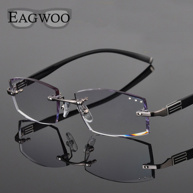 91016203e6f1 Metal Alloy Eyeglasses Men Rimless Prescription Reading Myopia Color MR-8  Diamond Glasses Frameless Spectacle Color Lenses258038