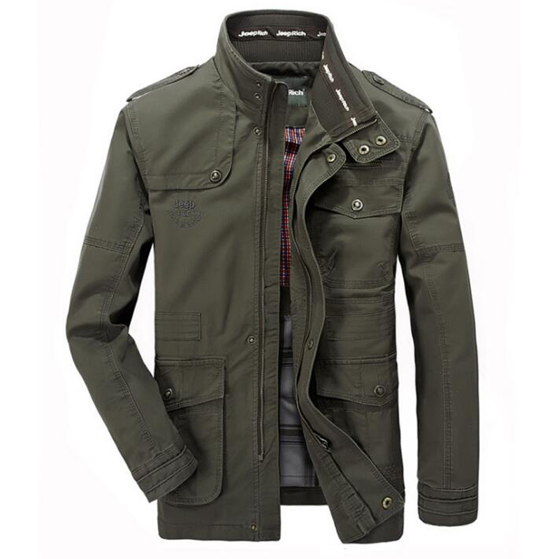 Jacket Men Causal Cotton Windbreaker Long Jackets Mens Military Outwear Flight Jacket Plus size 7XL Men's Trench Pocket Coats