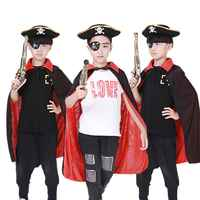 Kids Halloween Party Pirate Cosplay Cloaks Boys Girls Capes Hat Eye Mask Adult Pirate Costumes Set