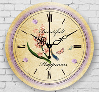 Mediterranean European Style Rustic Rustic Home Living Room Decoration Quiet Hanging Clock Ceramic Painting