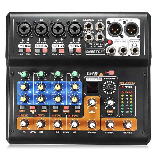 Leory Mini Portable Mixer 8 Channels USB Digital DJ Mixer With PAD Switches DSP Effect  1