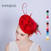 Red Silk Flower Fascinator Base Hat Imitation Sinamay Church Party Hats Fancy Ostrich Feather Hair Accessories
