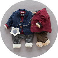 New Casual 3pcs Set Blue Red Baby Boy Cotton Suit Winter Warm Thicken Clothing Set