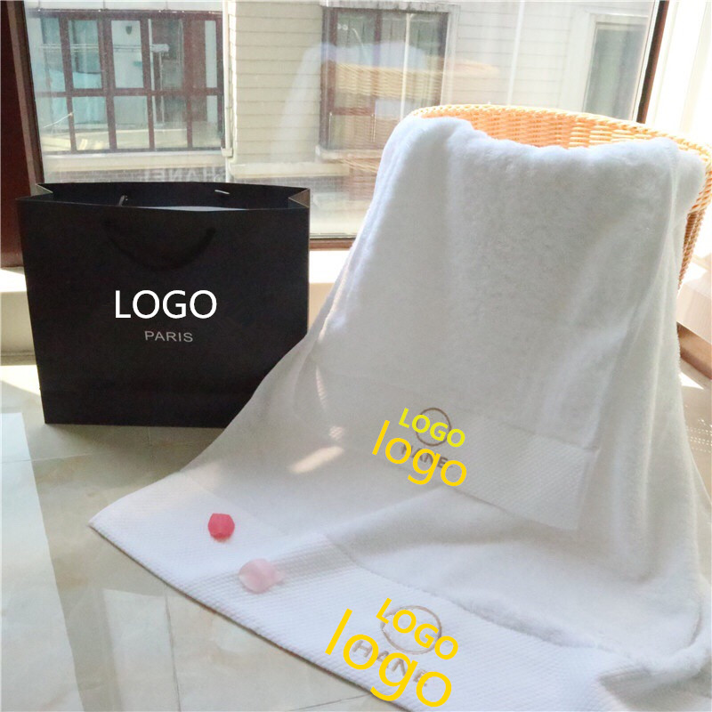 Customized High end Luxury High grade brands Cotton 2pcs set Bath Towel Tobacco Cotton Embroidery Bath