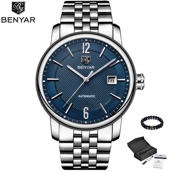 Relojes Para Hombre Azul | Benyar Moda Azul Hombre Reloj Mecánico Automático Relojes Para Hombre Marca Superior De Lujo Correa De Cuero Genuino Simple Reloj De Hombre