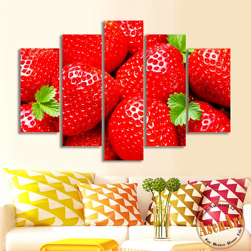 5 Panel Wall Art Strawberry Fruit Pictures Red Painting For Dining Room Decor Canvas